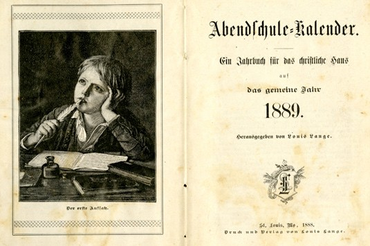 The title page of Abendschule Kalendar showing a young boy at a desk.