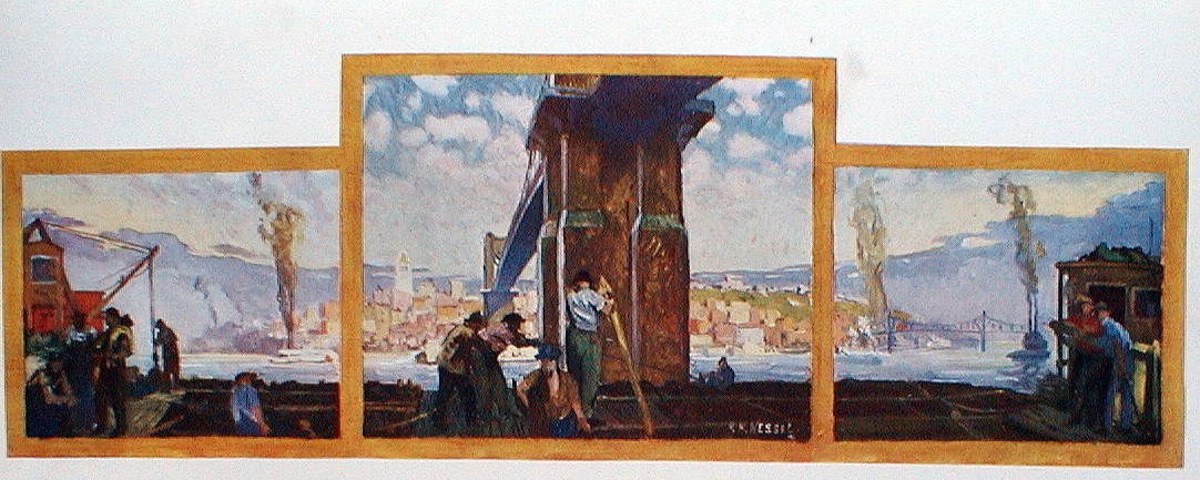 Painting titled Jamming Barges Under the Suspension Bridge by H H. Wessel