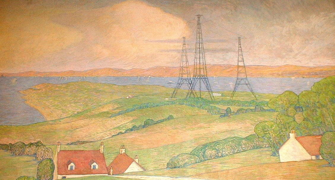 Photo of hand painted telegraph cables from the mural in the CEAS reading room.