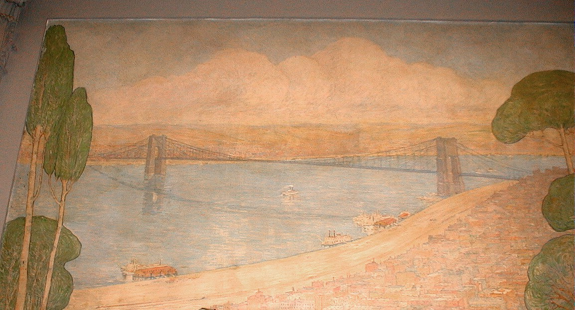 Photo of a hand painted bridge from the mural in the CEAS reading room.