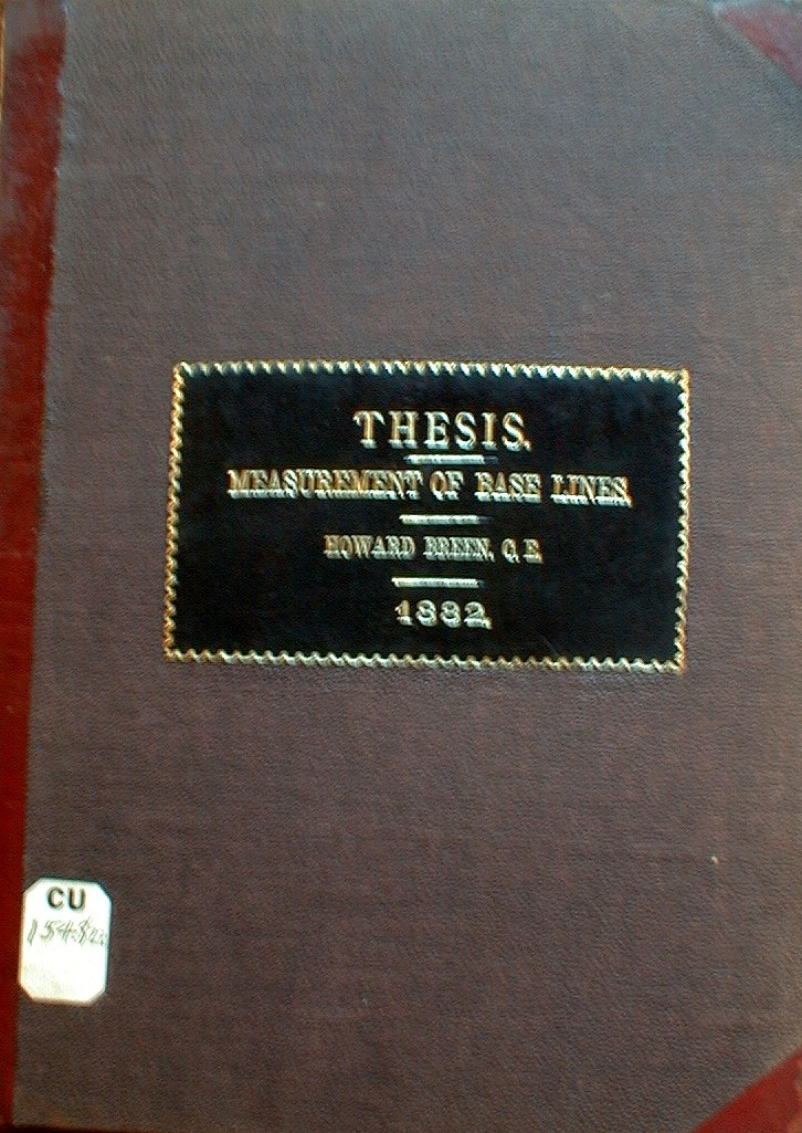 Cover of Howard Breen' thesis, 1882