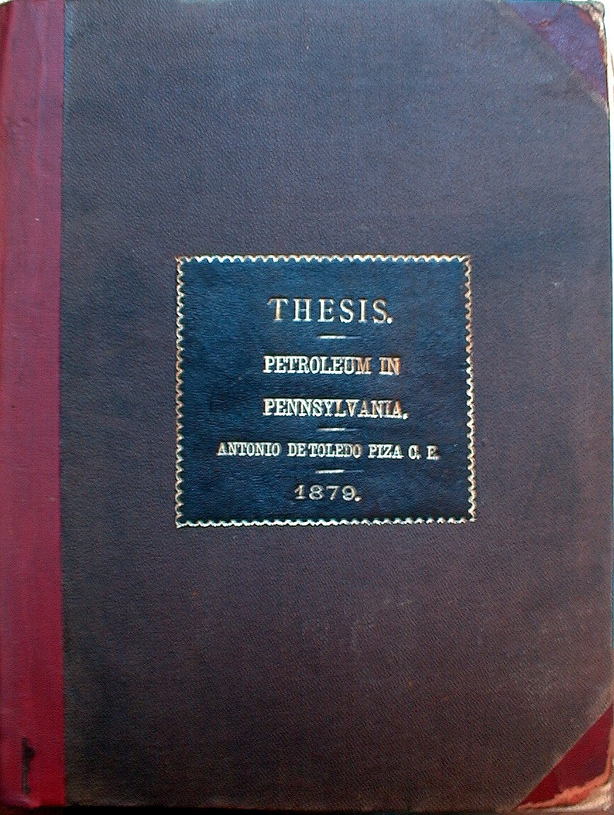 Cover of Antonia De Toldeo Piza's thesis - first graduate of the College of Engineering