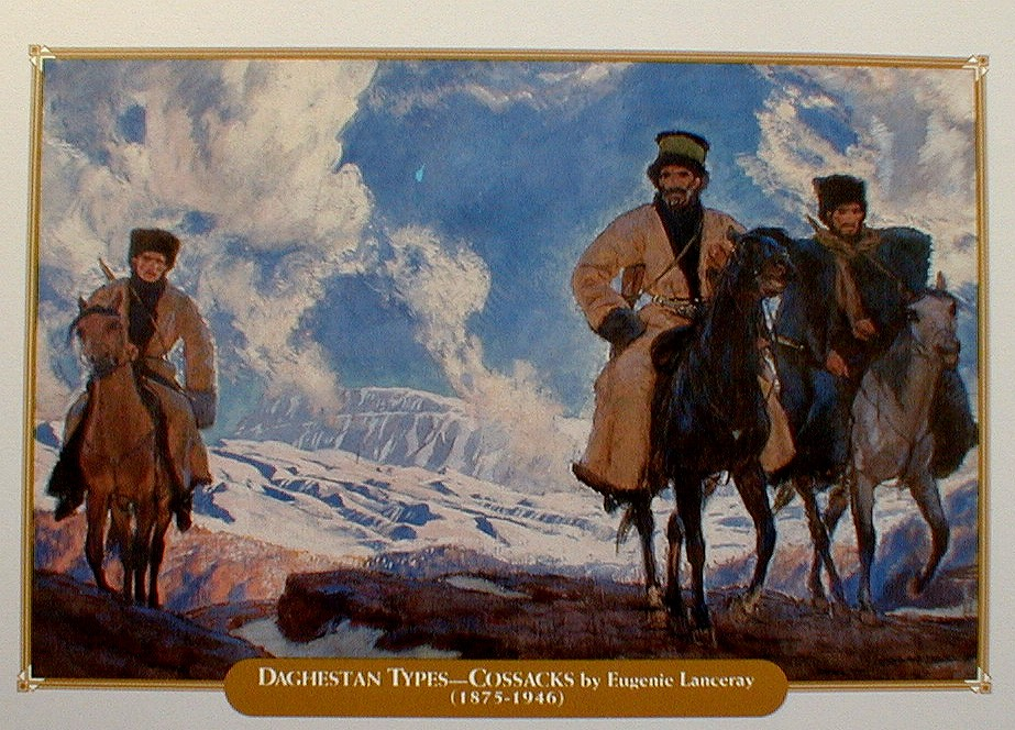 Painting titled Daghestan Types by Euginie Lanceray  Cossacks