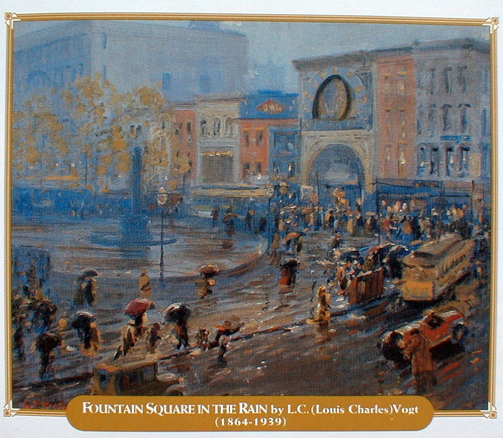 Painting titled Fountain Square in the Rain, by L.C. Vogt
