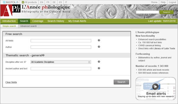 l'Annee Philologique, Classics database