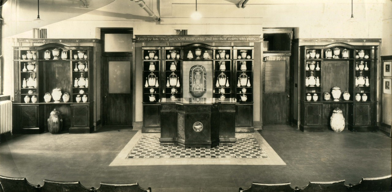 Dr. Fisher's lecture room with Cantagalli Jars.